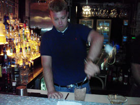 Ian bartending at The Little Bar